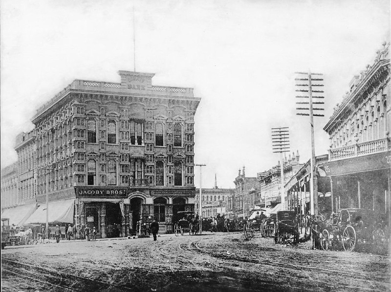 Temple Block on Spring Street and Main Street, ca.1885