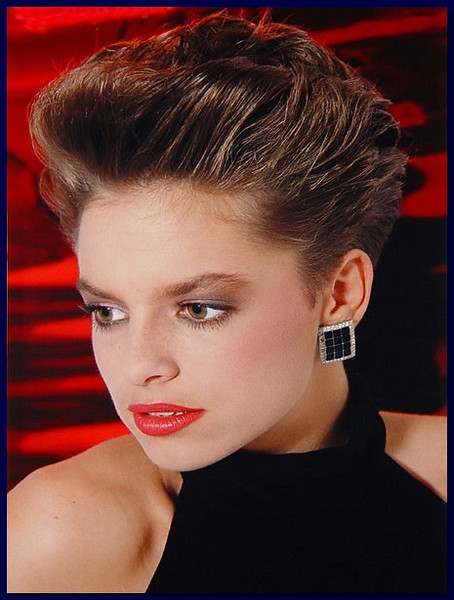 Model on red background, 1986