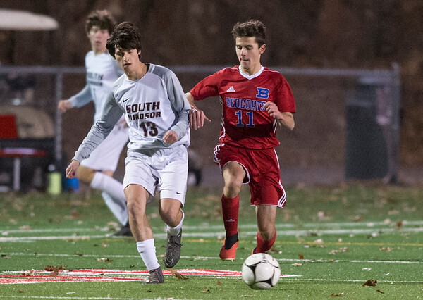 11/06/19 Wesley Bunnell | StaffrrBerlin boys soccer vs South Windsor on Wednesday evening at Sage Park. Jeffrey Bengiovanni (11).