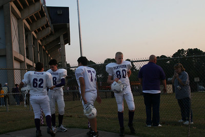 youth football panthers at high school game
