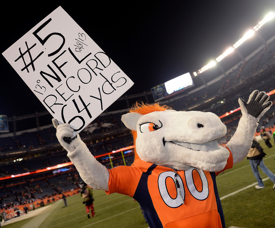 . Broncos mascot Miles holds up a sign for Denver Broncos kicker Matt Prater (5) record breaking field goal of 64 yards.  The Denver Broncos vs. the Tennessee Titans at Sports Authority Field at Mile High in Denver on December 8, 2013. (Photo by Hyoung Chang/The Denver Post)