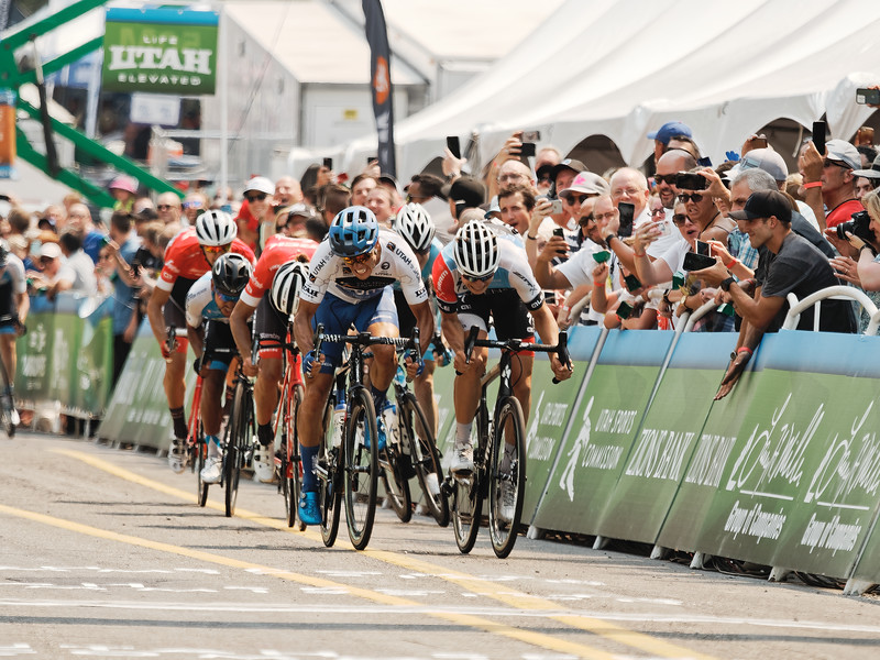Jasper Philipsen takes 1st, Larry H. Miller Tour of Utah Stage 4, Salt Lake City. (Photo: Davey Wilson)