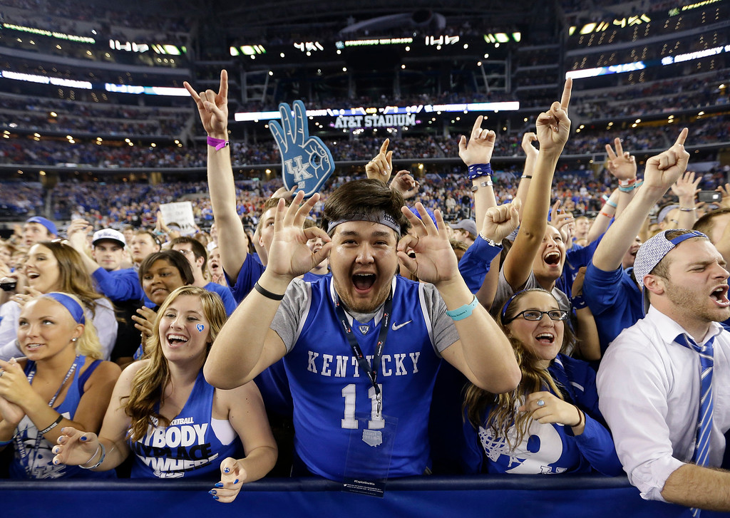 . Kentucky fans cheer before their game against Wisconsin at their NCAA Final Four tournament college basketball semifinal game Saturday, April 5, 2014, in Arlington, Texas. (AP Photo/David J. Phillip)
