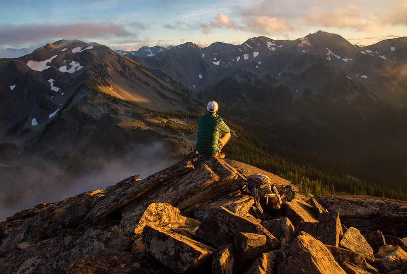 A misty sunset deep in the wilds of the Olympic Mountains in Washington.