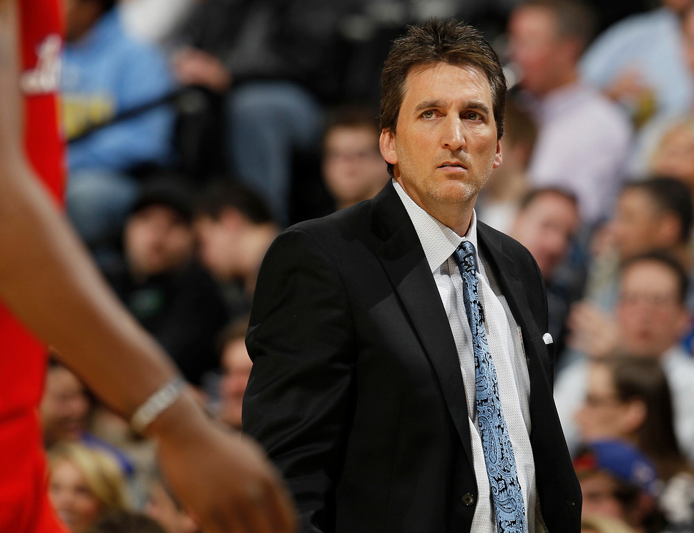 . Los Angeles Clippers head coach Vinny Del Negro guides his team against the Denver Nuggets in the first quarter of an NBA basketball game in Denver, Thursday, March 7, 2013. (AP Photo/David Zalubowski)
