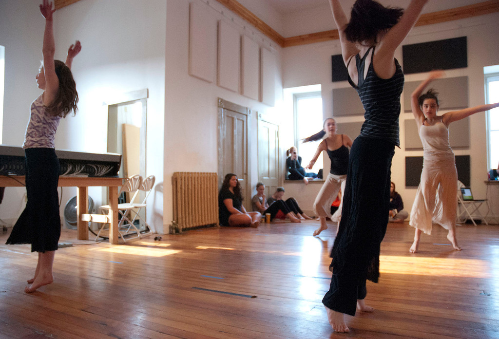 . Kayla Rice/Reformer                                 Dancers from IBIT (Intrinsic Beauty of Invisible Things) rehearse at their Elliot St. studio in Brattleboro on Tuesday afternoon.