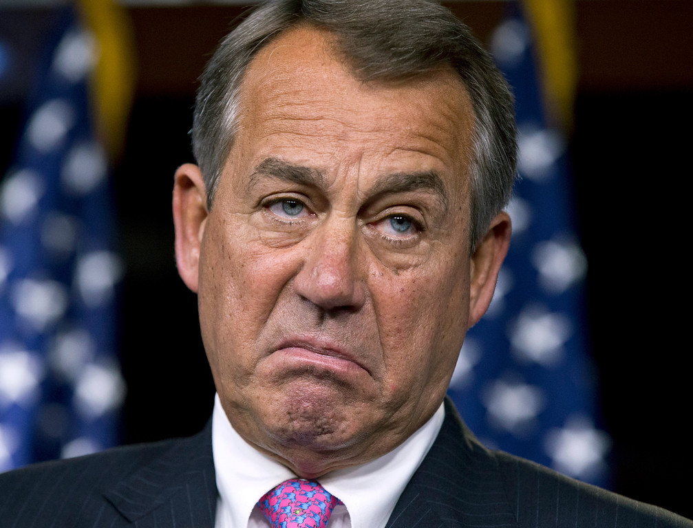 . House Speaker John Boehner, R-Ohio, pauses while meeting with reporters during a news conference on Capitol Hill in Washington, Thursday, Feb. 28, 2013, to answer questions about the impending automatic spending cuts that take effect March 1.  (AP Photo/J. Scott Applewhite, File)
