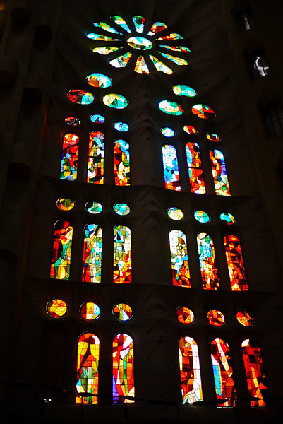 Beautiful stained glass windows inside La Sagrada Familia in Barcelona, Spain