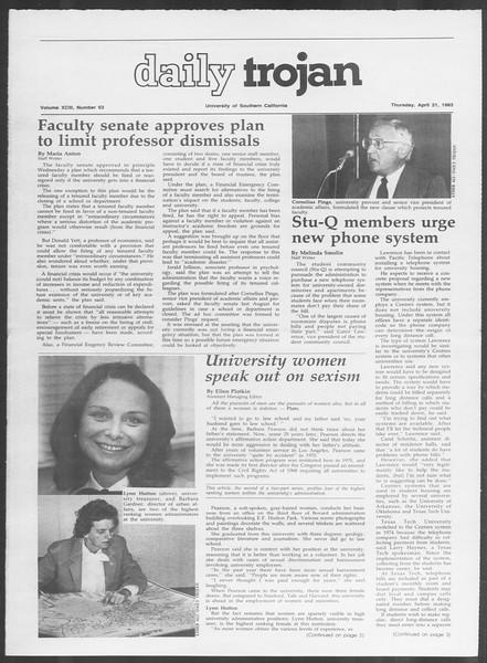 Daily Trojan, Vol. 93, No. 63, April 21, 1983