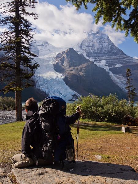 Resting at Berg Lake campsite (Robson Lawn)