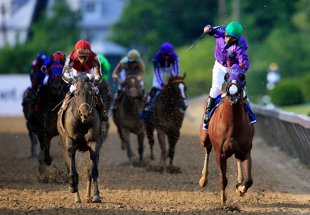 . California Chrome #3, ridden by Victor Espinoza, crosses the finishline to win the 139th running of the Preakness Stakes at Pimlico Race Course on May 17, 2014 in Baltimore, Maryland.  (Photo by Rob Carr/Getty Images)