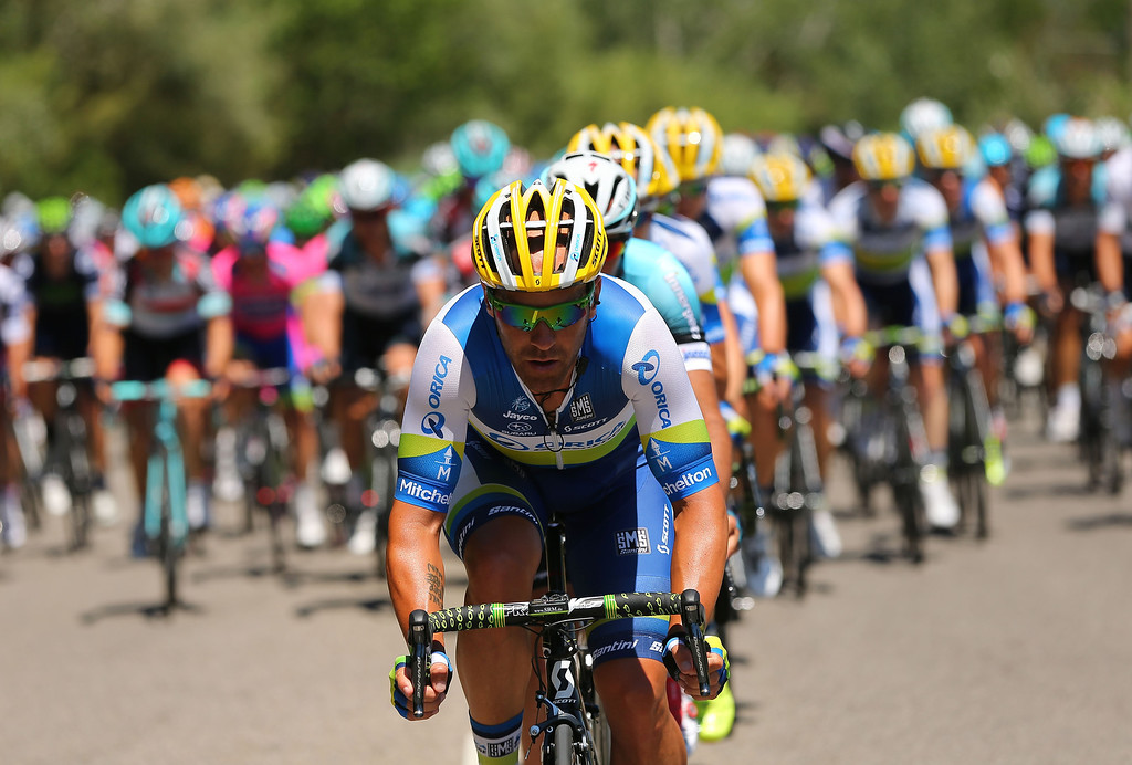 . MONTPELLIER, FRANCE - JULY 04:  A member of the Orica Greenedge team heads the peloton to stage six of the 2013 Tour de France, a 176.5KM road stage from Aix-en-Provence to Montpellier, on July 4, 2013 in Montpellier, France.  (Photo by Bryn Lennon/Getty Images)