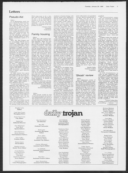 Daily Trojan, Vol. 100, No. 13, January 28, 1986