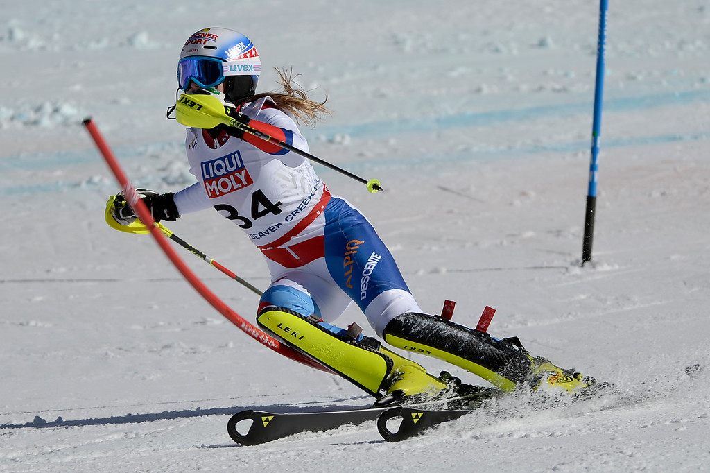 . BEAVER CREEK, CO - FEBRUARY 14: Charlotte Chable of Switzerland competes during the ladies\' slalom. FIS Alpine World Ski Championships 2015 on Saturday, February 14, 2015. (Photo by AAron Ontiveroz/The Denver Post)
