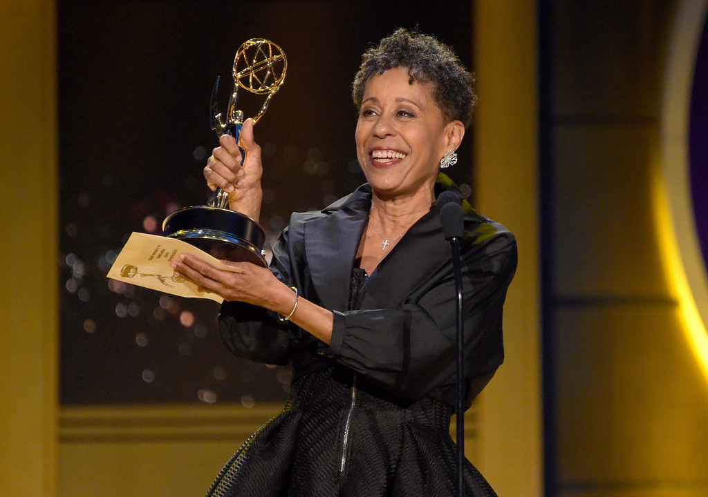 ". Vernee Watson accepts the award for outstanding guest performer in a drama series for ""General Hospital\"" at the 45th annual Daytime Emmy Awards at the Pasadena Civic Center on Sunday, April 29, 2018, in Pasadena, Calif. (Photo by Richard Shotwell/Invision/AP)"