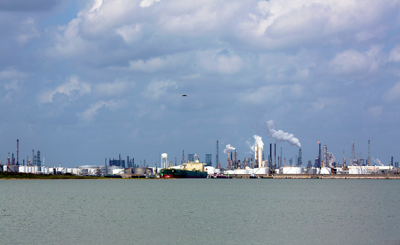 A wider view of Texas City Harbor