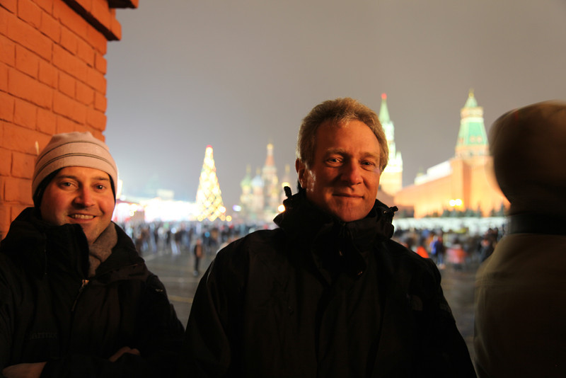 Waiting for the festivities to begin on New Year's Eve 2012. Red Square, Moscow, Russian Federation