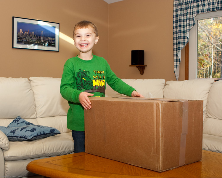 Alas, the hightly coveted box from UPS has arrived in time for K.C.'s birthday.