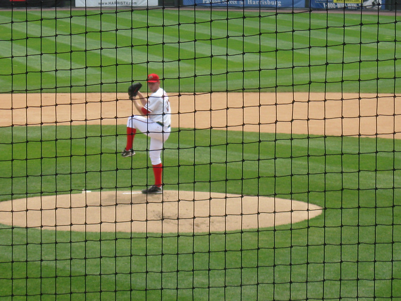Pitching phenom Stephen Strasburg in his last start for the Harrisburg Senators.