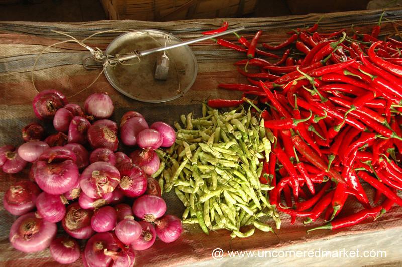 Menghun Market, Chilies and Onions - Xishuangbanna, China