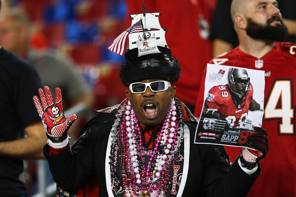 . TAMPA, FL - NOVEMBER 11:  A Tampa Bay Buccaneers fan prepares for their game against the Miami Dolphins at Raymond James Stadium on November 11, 2013 in Tampa, Florida.  (Photo by Mike Ehrmann/Getty Images)