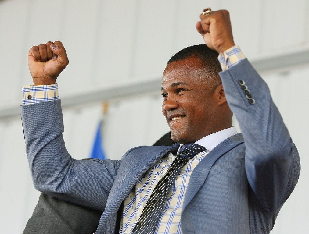 . International Boxing Hall of Fame 2014 inductee  Felix Trinidad acknowledged the crowd during his induction remarks at the hall on Sunday, June 8, 2014 in Canastota. JOHN HAEGER-ONEIDA DAILY DISPATCH @ONEIDAPHOTO ON TWITTER
