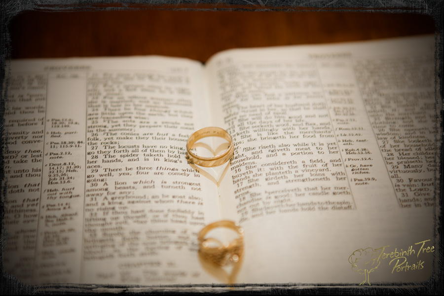 Closeup photo of Tucker and Chelsea's wedding rings at their Temecula wedding