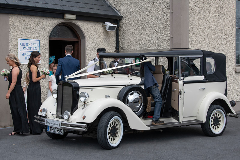 Wedding guests at Church of the Assumption, Achill Sound, Achill Island, County Mayo, Republic of Ireland