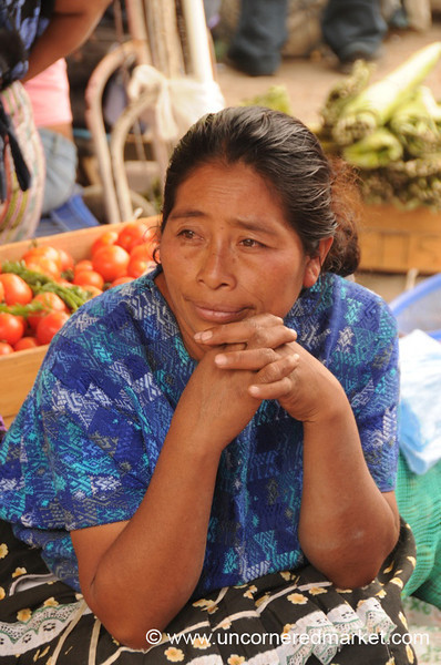 Guatemalan Vendor in Deep Thought - Antigua, Guatemala