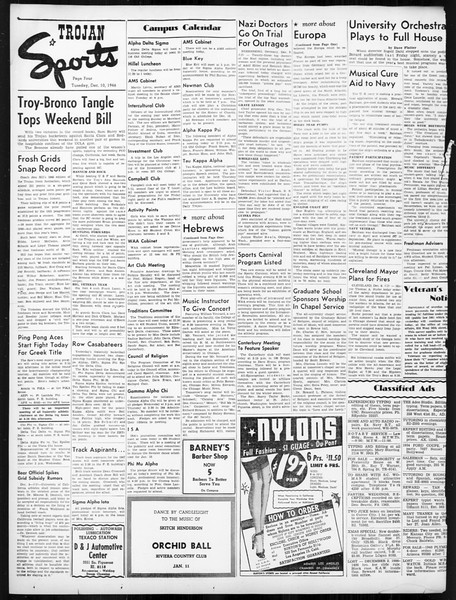 Daily Trojan, Vol. 38, No. 60, December 10, 1946