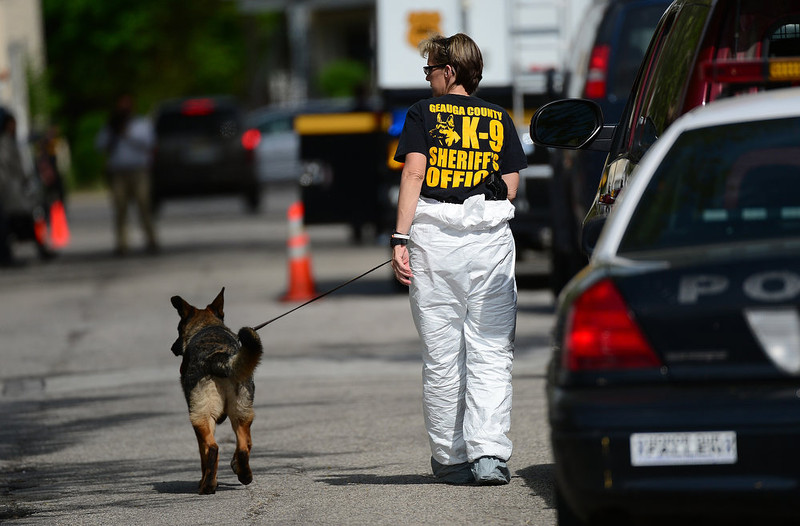 . A K9 police dog personnel walks in front of the house where three women were held captive for a decade on May 7, 2013 in Cleveland, Ohio.  EMMANUEL DUNAND/AFP/Getty Images