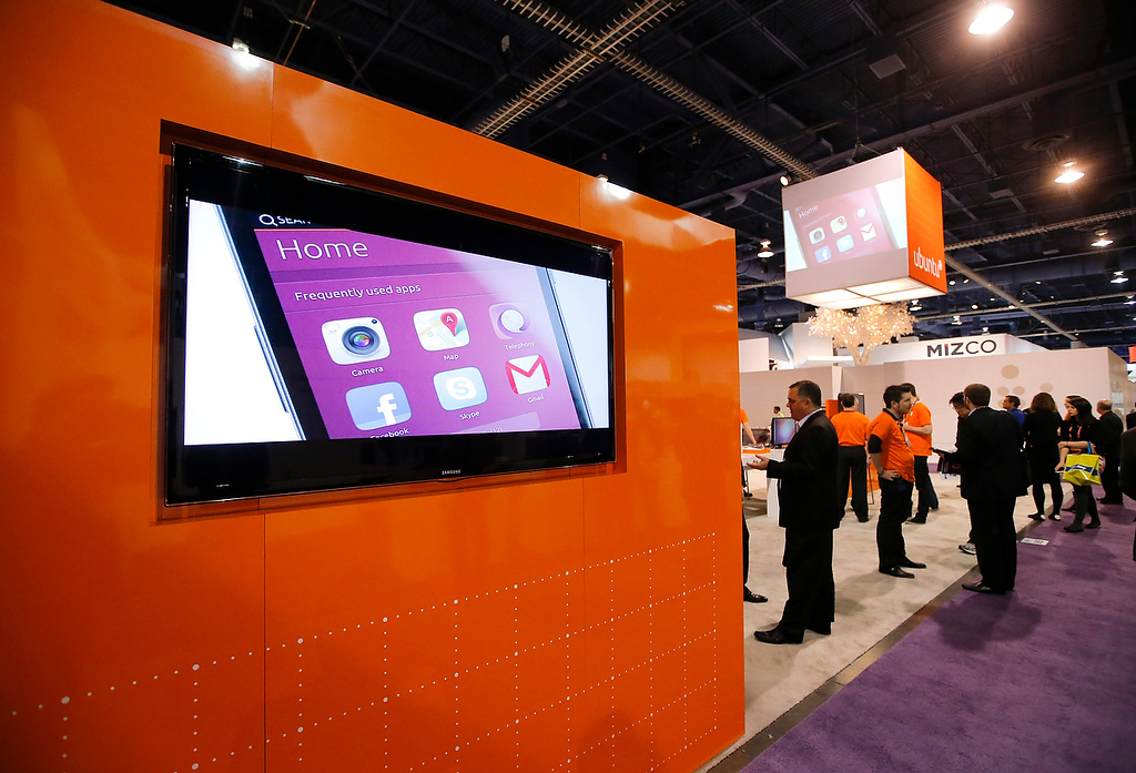 . A smartphone running on Ubuntu mobile OS is shown on a display at the Ubuntu booth at the International Consumer Electronics Show in Las Vegas, Thursday, Jan. 10, 2013. (AP Photo/Jae C. Hong)