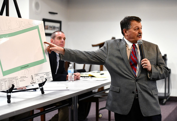 1/9/2020 Mike Orazzi | StaffrAttorney Tim Furey during an information meeting held at the Manross Library about a proposed gated high-end multi-family residential project proposed for the Redstone Hill Road area in the city of Bristol.