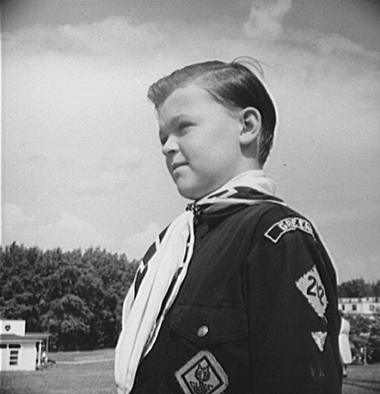 . Greenbelt, Maryland. Boy Scout rigged out for the Memorial Day ceremony, 1942. Marjory Collins, Photographer.  Courtesy the Library of Congress