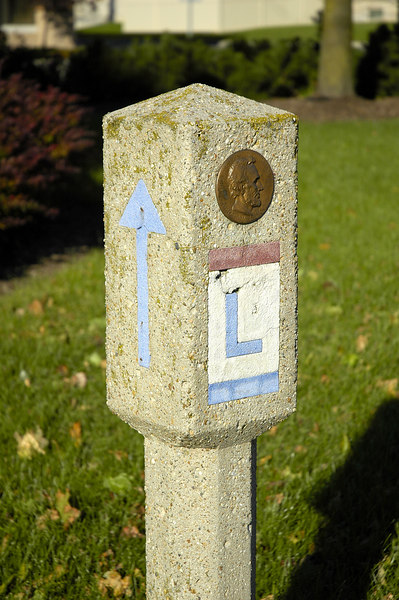 Road marker on the square in downtown Bucyrus Ohio.