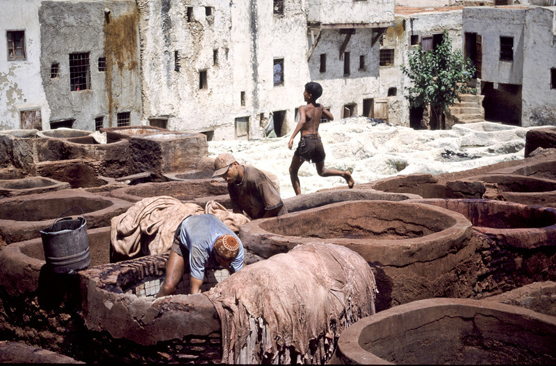 Boy working in the tanneries.  Fez, Morocco, 2010.