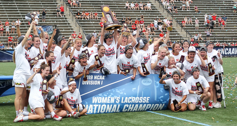 May 26, 2019: Maryland players take a team picture after NCAA Womens Lacrosse Championship matchup between Boston College and University of Maryland in Baltimore. Photos by Chris Thompkins/Prince Georges Sentinel