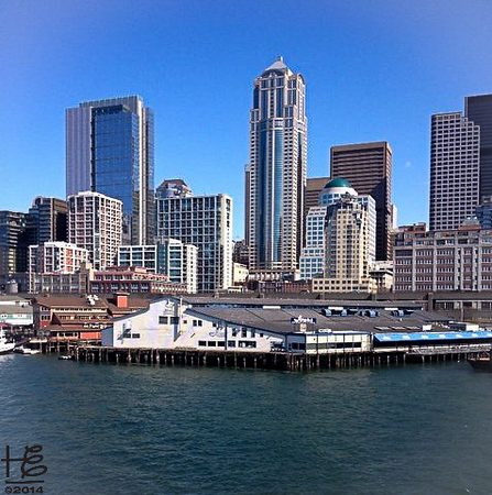 03-23-14 The Seattle skyline view as the ferry departed from Pier #52 to Bainbridge Island.