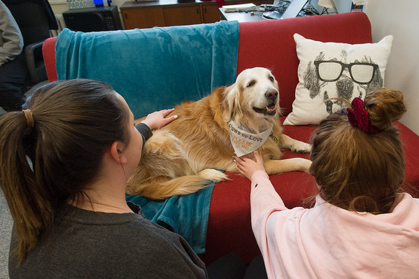 2/13/20 Therapy Dog Stella Meeting with Students