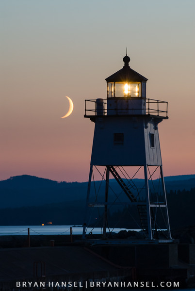 Lighthouse and Crescent Moon