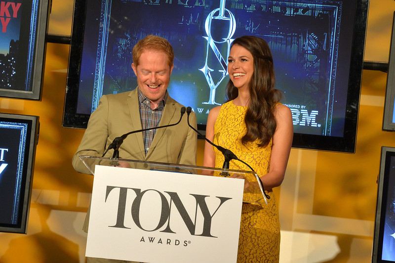 . Actors Jesse Tyler Ferguson and Sutton Foster during the 2013 Tony Awards Nominations Ceremony at The New York Public Library for Performing Arts on April 30, 2013 in New York City.  (Photo by Mike Coppola/Getty Images for Tony Award Productions)