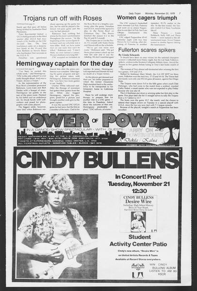 Daily Trojan, Vol. 75, No. 41, November 20, 1978
