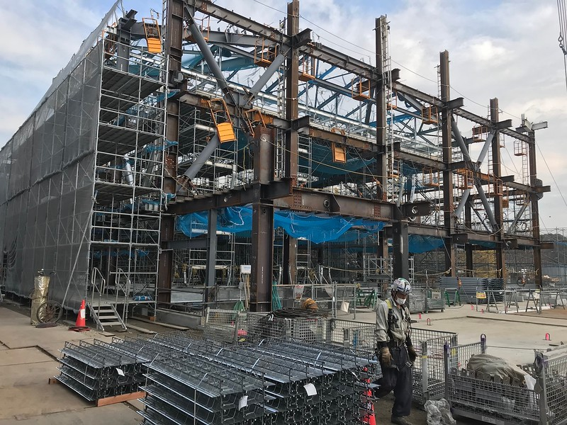 Steel framework for the pool area complete, framing of the South Building continues.