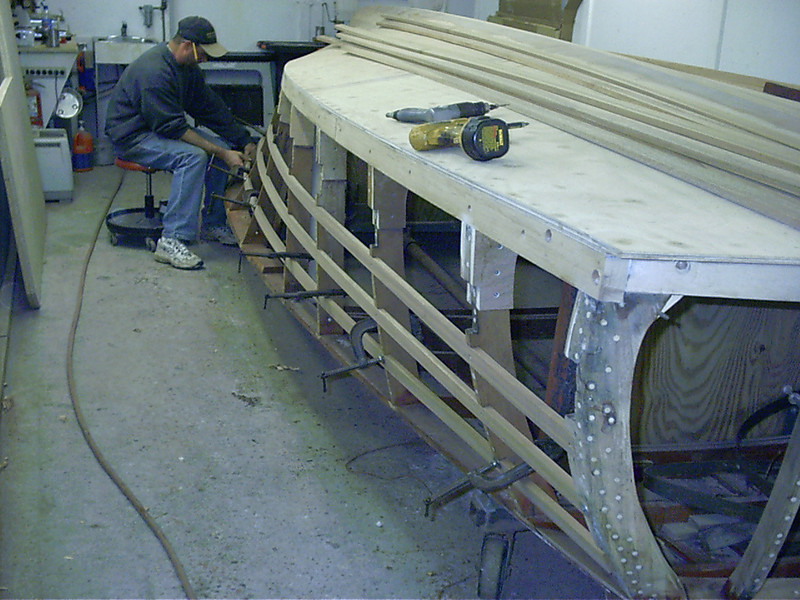 Rear view of new starboard battens.