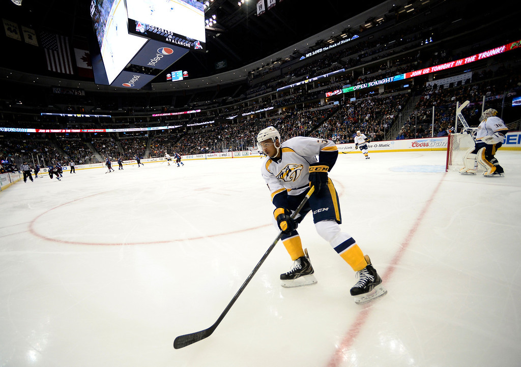 . Nashville Predators defenseman Seth Jones (3) skates to the puck during their game against the Colorado Avalanche in the first period November 6, 2013 at Pepsi Center. (Photo by John Leyba/The Denver Post)