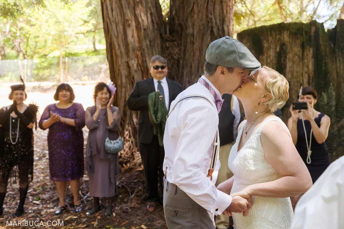 First kiss in the wedding ceremony, Los Gatos