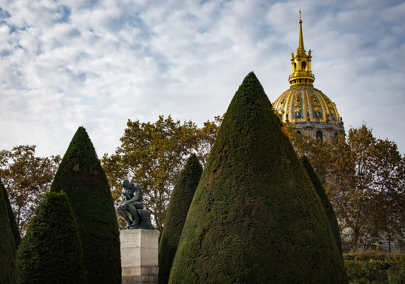 "Rodin's ""Thinker"" and the dome of Les Invalides"