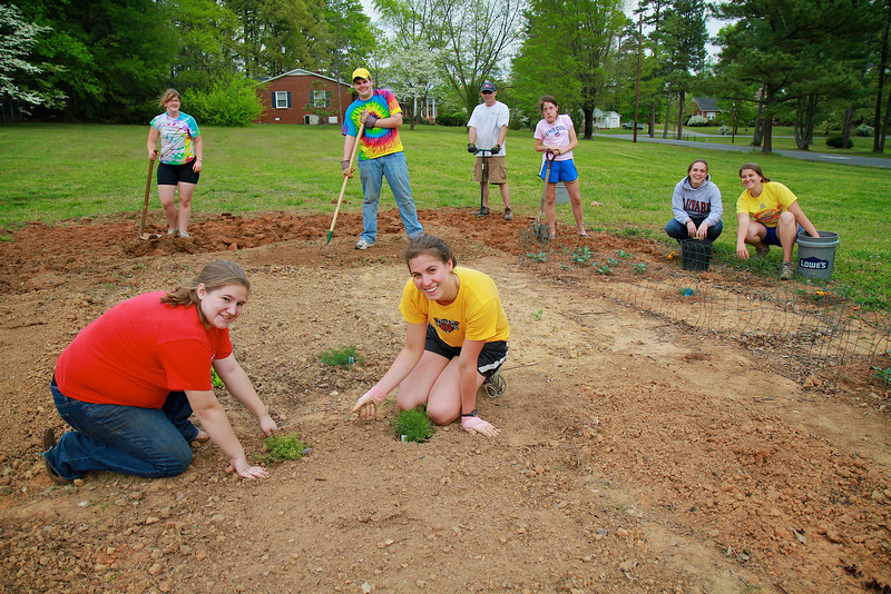 Staff and Students participate in a community garden service project, in which food is grown to help individuals in need.