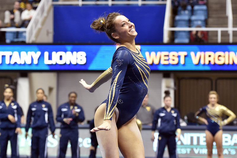 MORGANTOWN, WV - MARCH 8: WVU female gymnast  Dayah Haley performs on the floor exercise during a dual meet March 8, 2015 in Morgantown, WV.