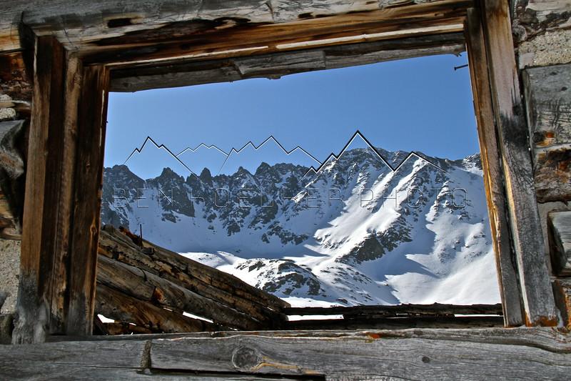 Mining Ruins framing Mayflower Gulch, CO